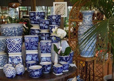Blue and white pots